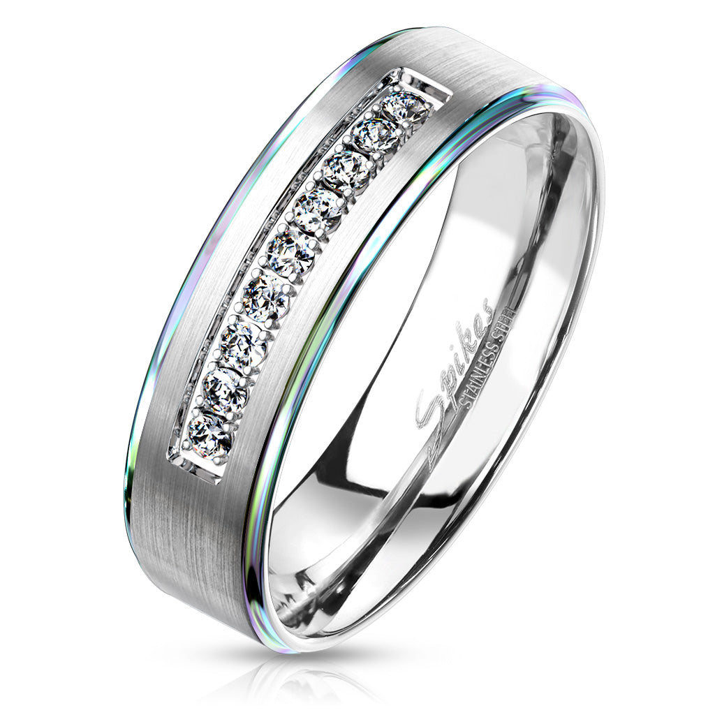 Rainbow Edge Design with 9 CZ Stones in Center Stainless Steel Comfort Fit Ring