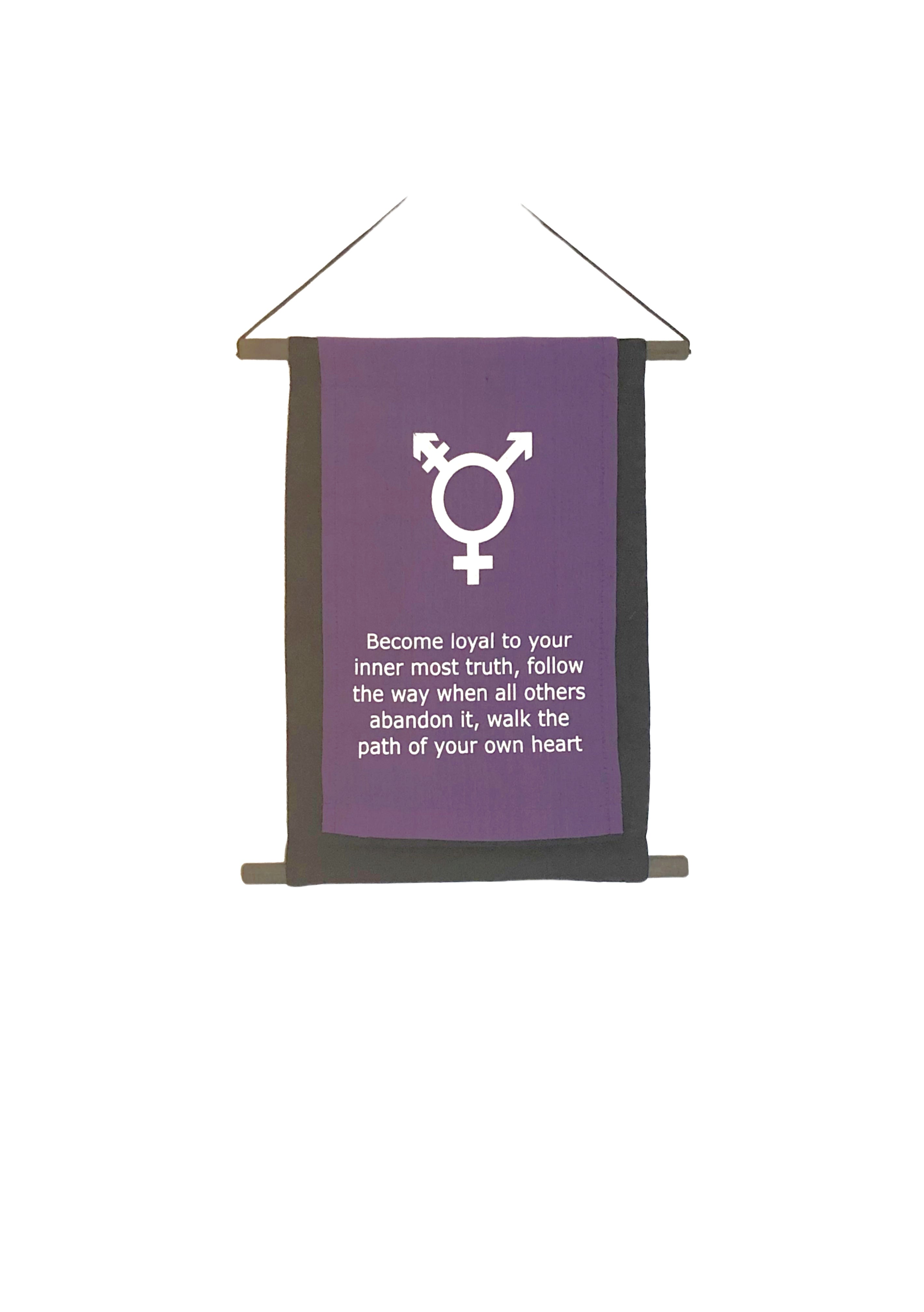 Transgender Symbol Affirmation Banner with Inspirational Quote