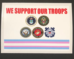 We Support Our Troops Transgender Military Bumper Sticker