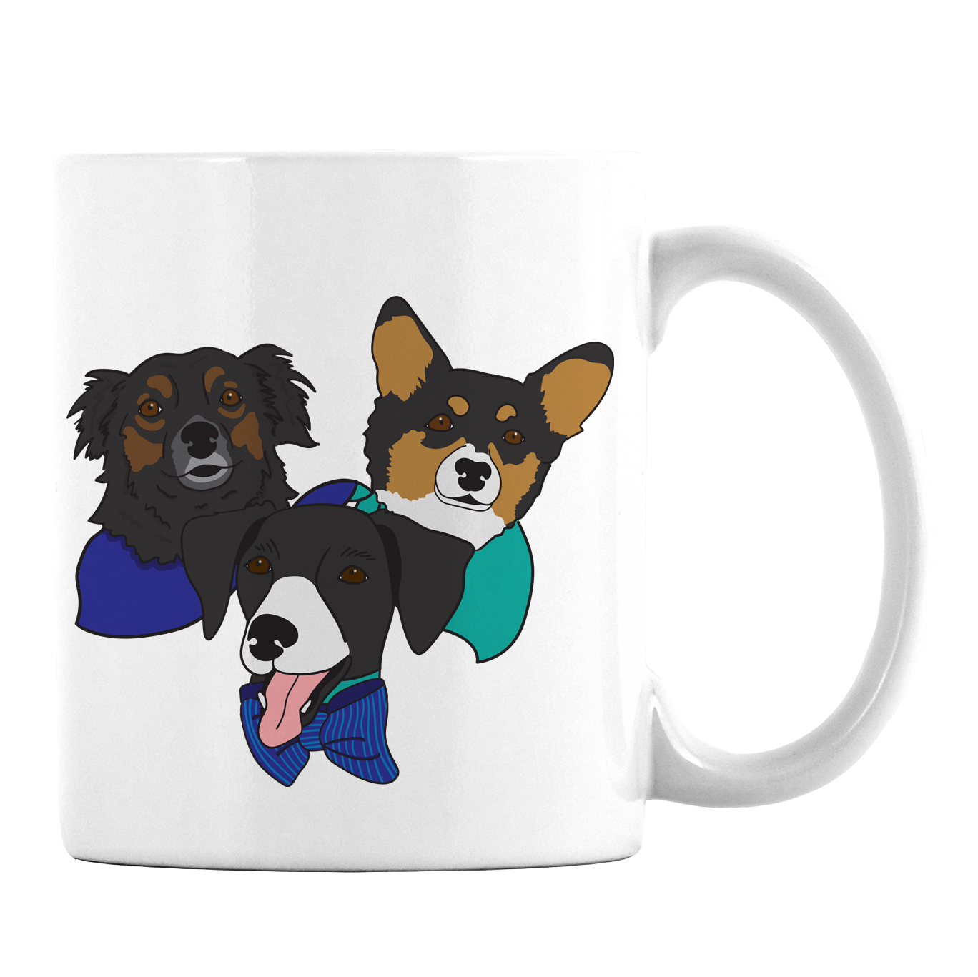 Custom Illustrated Pet Face Mug - 3 Pets