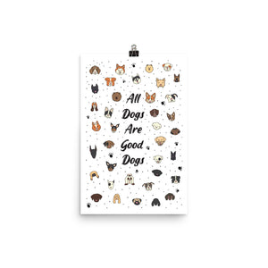 "Good Dogs Art Print | White - 12"" x 18"""