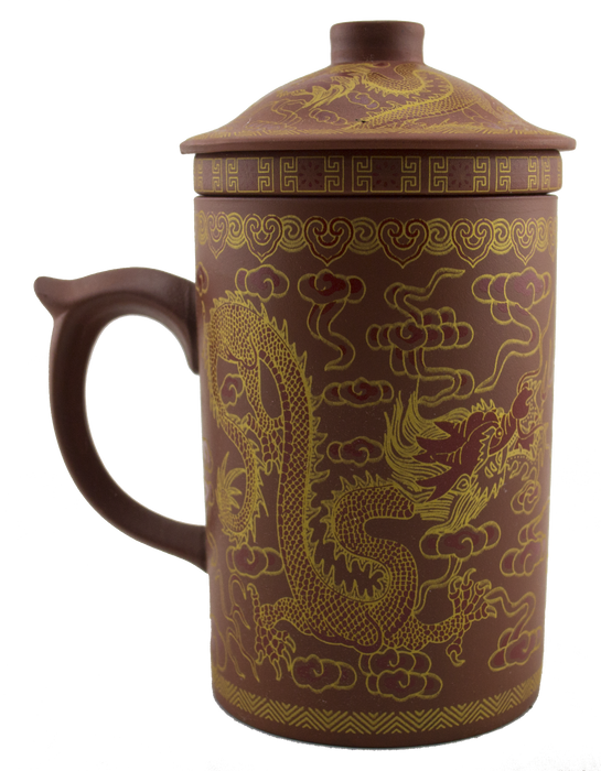 Dragon Print Yi Xing Clay Mug With Strainer