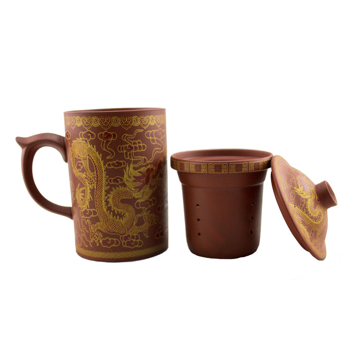 Dragon Print Yi Xing Clay Mug With Strainer - Original Source