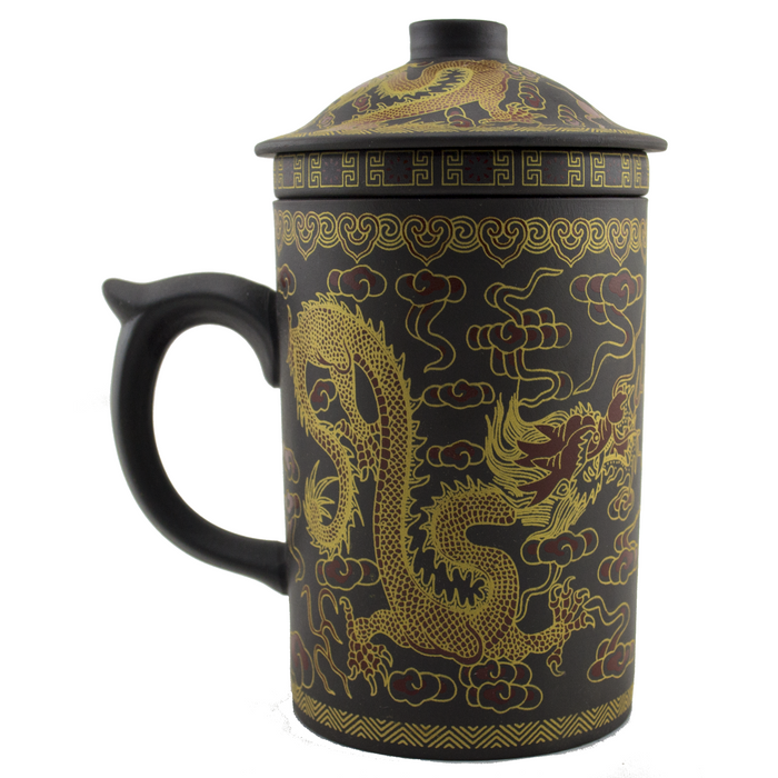 Yi Xing Clay Strainer Mug With Gold Dragon (Brown) - Original Source