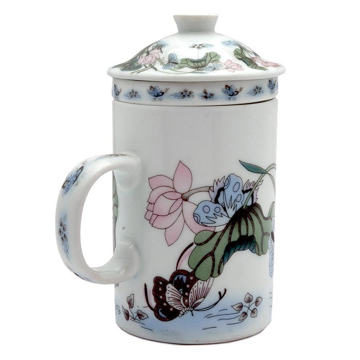 Ceramic Strainer Mug With Butterfly Design