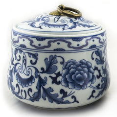 Whimsical Floral Blue & White Tea Canister - Original Source