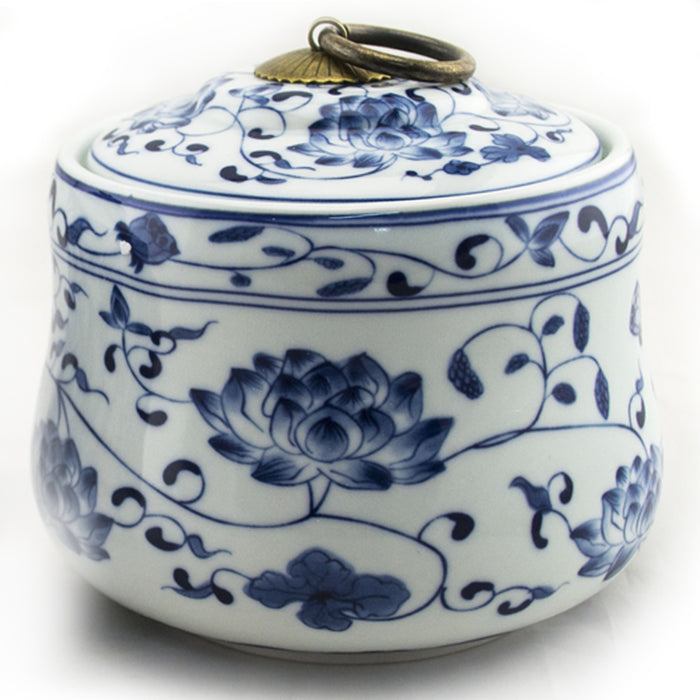 Blue & White Classical Floral Tea Canister - Original Source