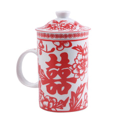Ceramic Strainer Mug - Double Happiness - Red - Original Source