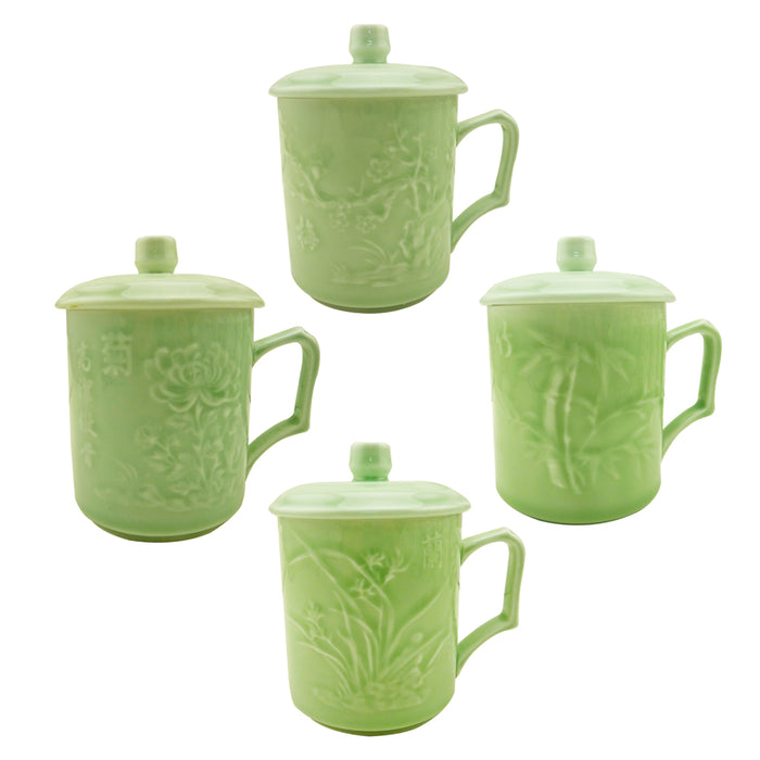 Celadon Ceramic Mugs - Four Seasons - Set of 4 - Original Source