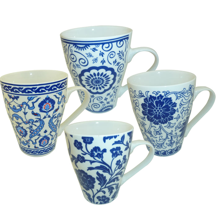 Blue & White Cups - Set of 4