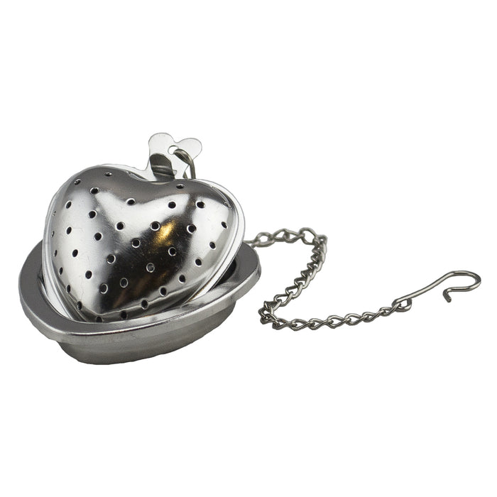 Tea Strainer w/Holder - Stainless Steel - Heart
