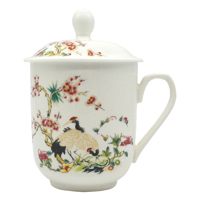 Bone China Mug - Floral & Crane - Original Source
