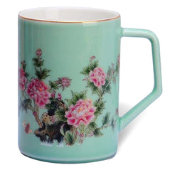 Peony Floral Bone China Mug (Green) - Original Source