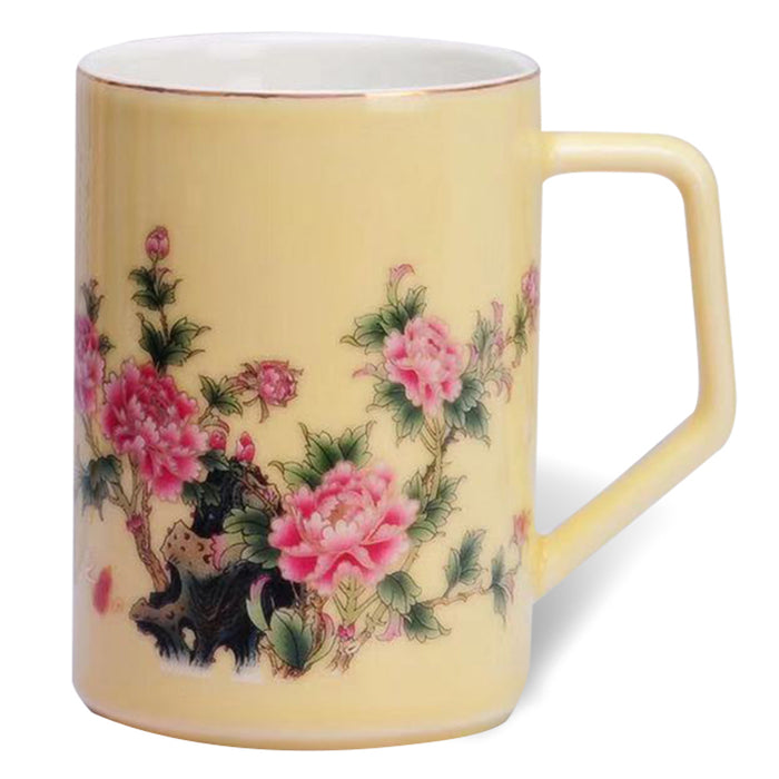 Peony Floral Bone China Mug (Yellow) - Original Source