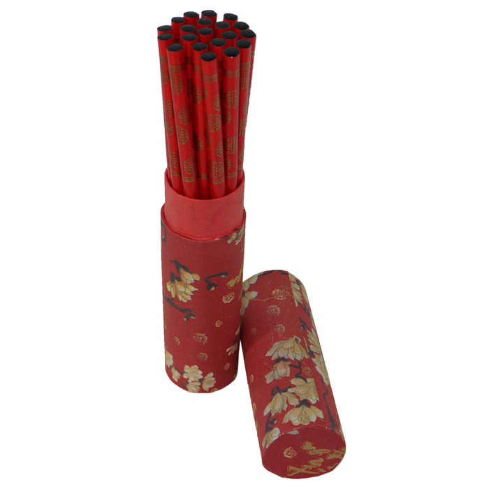 Wood Chopsticks in Tube - 10 Pairs - Red - Original Source