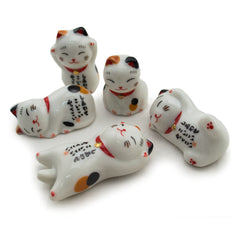 Ceramic Chopsticks Holders - Lucky Cats - Set of 5 - Original Source