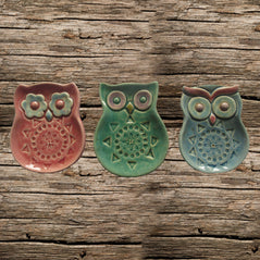 Ceramic Candle Holders - Owl - Set of 3