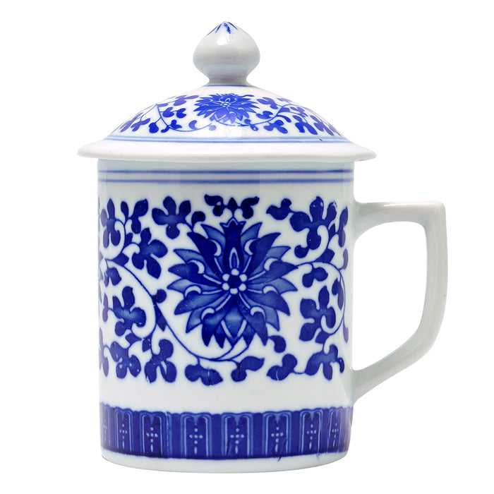 Blue & White Ceramic Mug w/Lid - Floral - Original Source