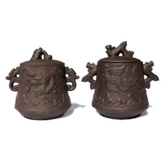 Yi Xing Clay Tea Canisters - Dragon & Phoenix - Set of 2