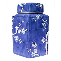 Hand-painted Porcelain Jar - Blue & White Cherry Blossom - Hexagon