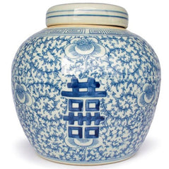 Double Happiness Blue & White Ginger Jar