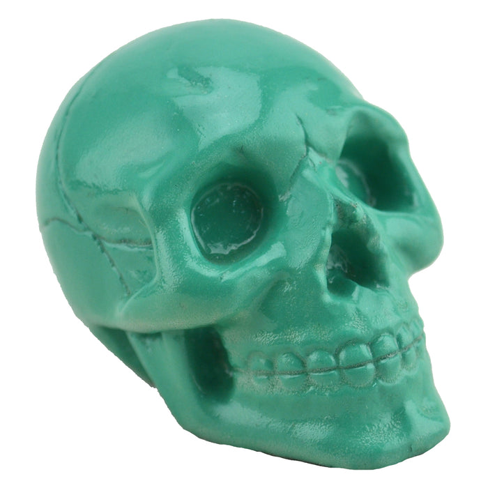 Resin Skull in a Silk Bag - Turquoise