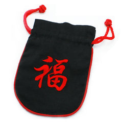Embroidered Draw String Pouch - Good Fortune
