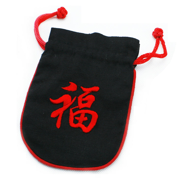 Embroidered Draw String Pouch - Good Fortune - Original Source