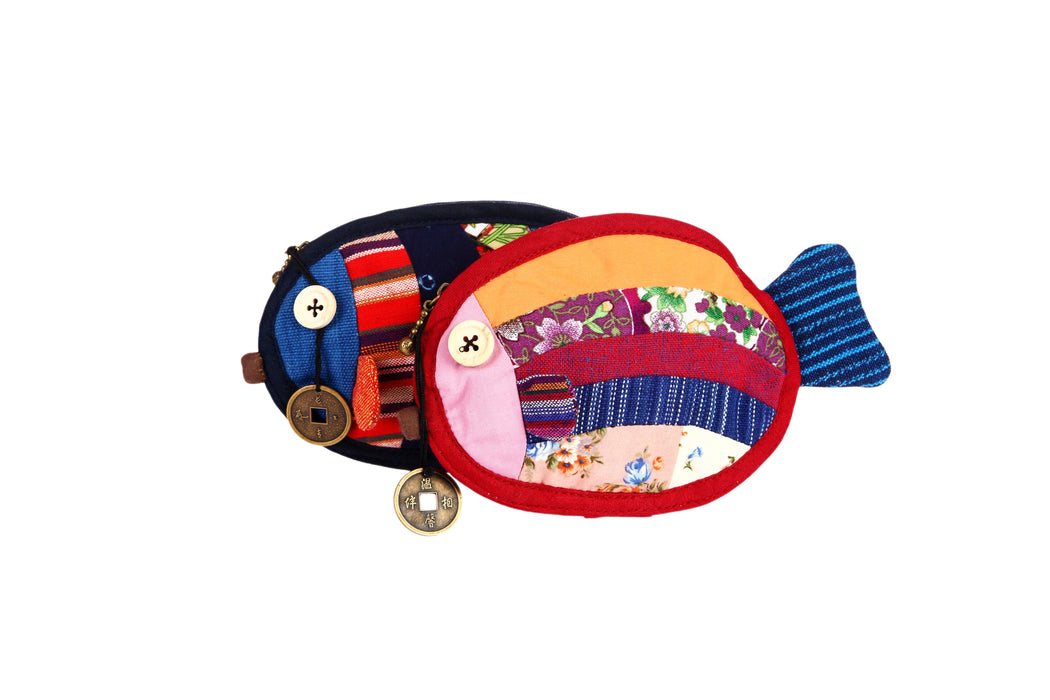 Patchwork Fish Coin Purse - Blue - Original Source