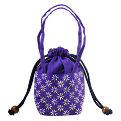 Embroidered Drawstring Purse - Purple