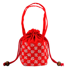 Embroidered Drawstring Purse - Red
