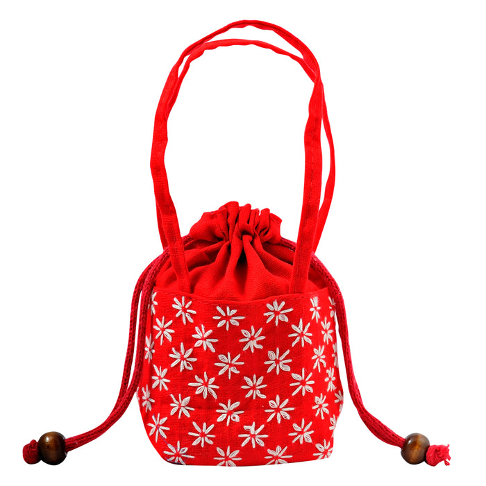 Embroidered Drawstring Purse - Red - Original Source