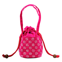 Embroidered Drawstring Purse - Pink
