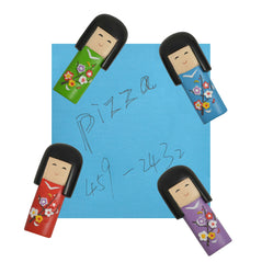 Japanese Kokeshi Doll Resin Magnets - Set of 4