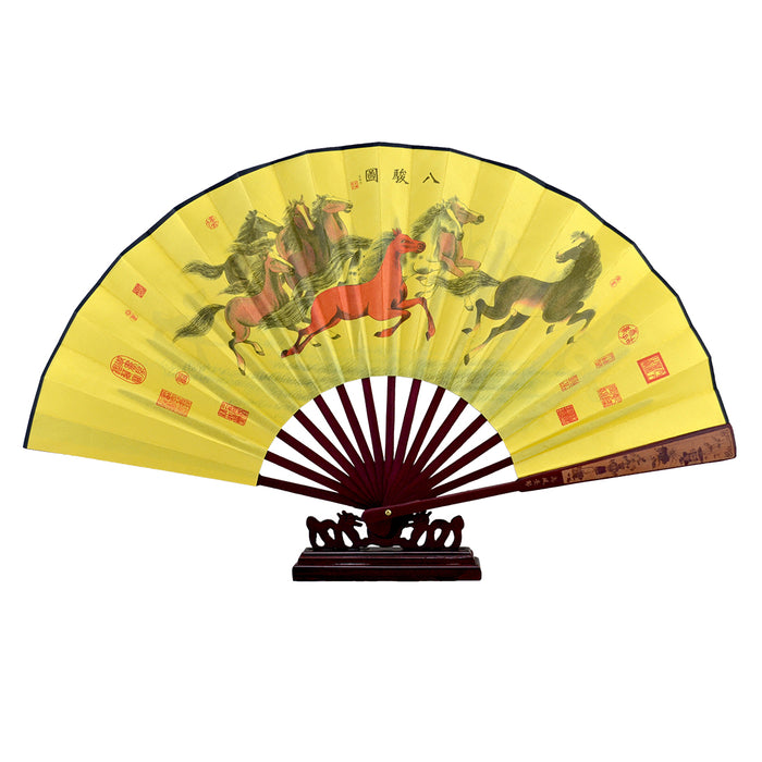 Silk Fan w/Stand - Horses Running - Original Source