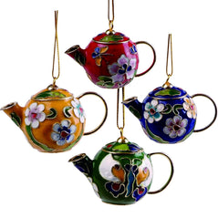 Cloisonne Ornament - Tea Pots - Set of 4 - Original Source