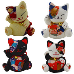 Key Chain - Beanie Lucky Cat - Assorted Colors - Original Source