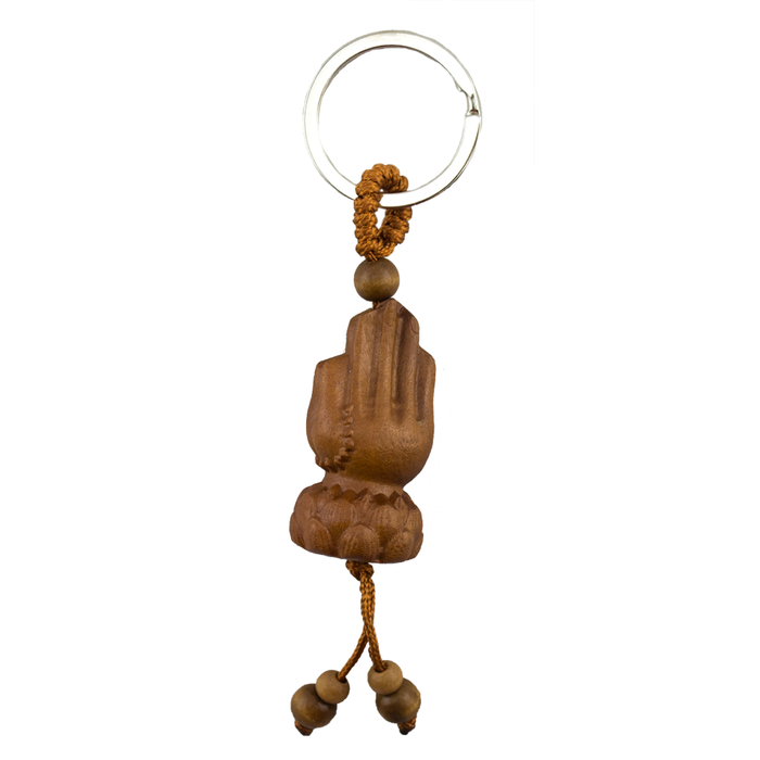 Key Chain - Carved Wood - Meditation Hands