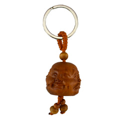 Key Chain - Carved Wood - 4 Face Buddha - Original Source