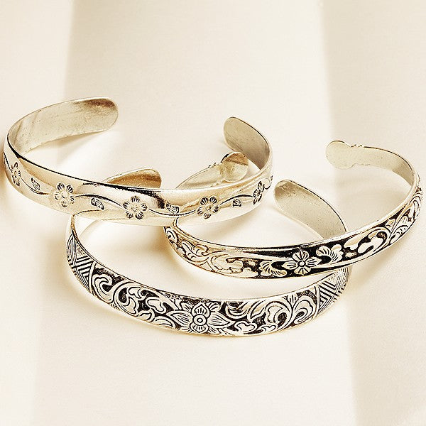 Miao Bangles - White Copper -  Set of 3