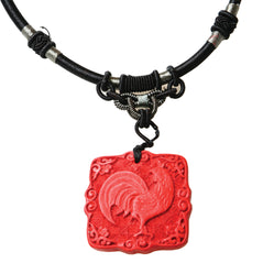 Cinnabar Zodiac Necklace - Rooster