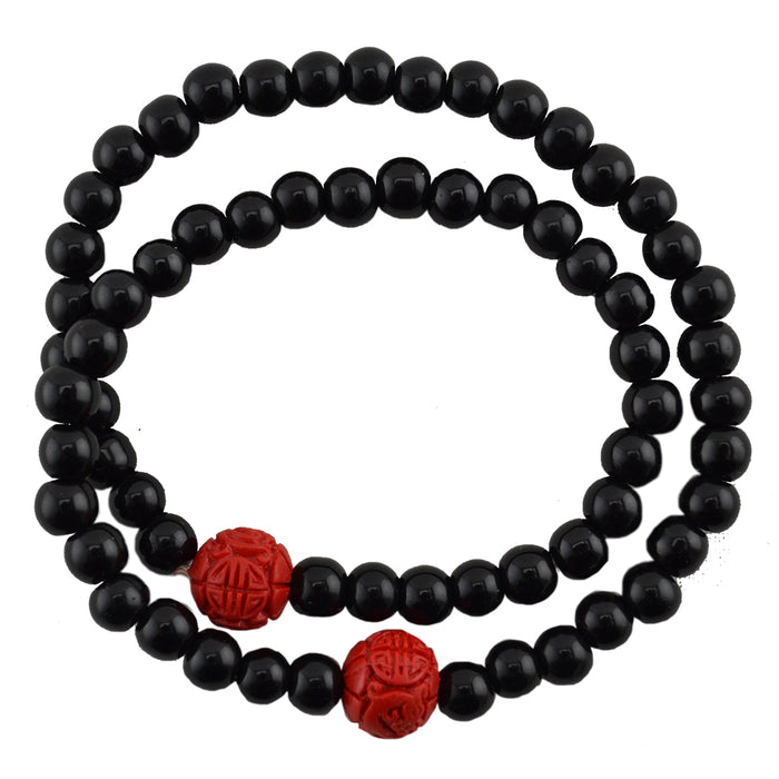 Cinnabar Bead & Onyx Double Wrap Bracelet - Original Source