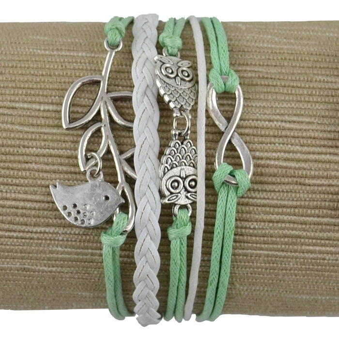 Renewal Bracelets - Multi Cord with Inspirational Charms - Green