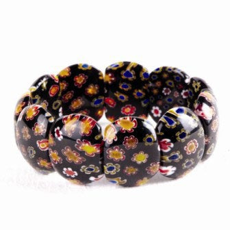 Flower Glass Stretch Bracelet - Black