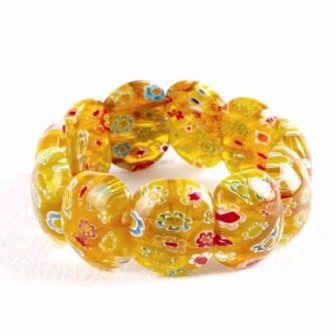 Flower Glass Stretch Bracelet - Yellow
