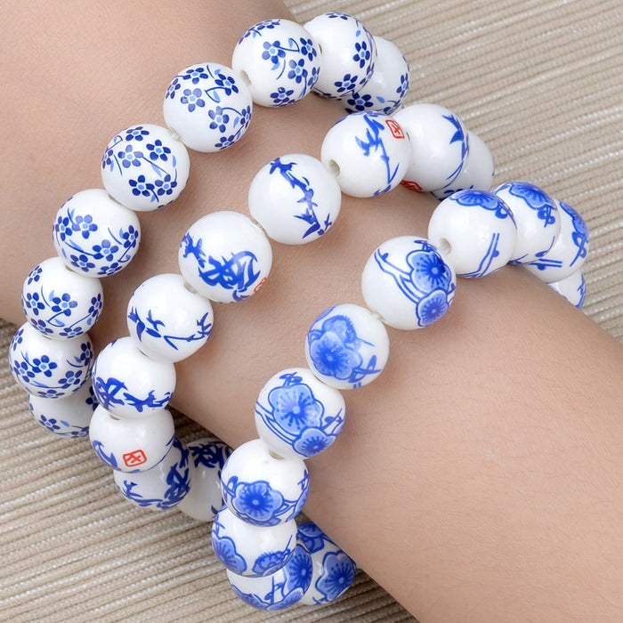 Ceramic Bead Bracelet - Small Flowers - Original Source