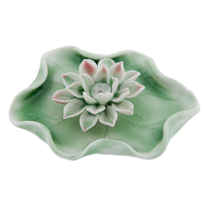 Lotus Incense Holder - Crackle Celadon - Original Source
