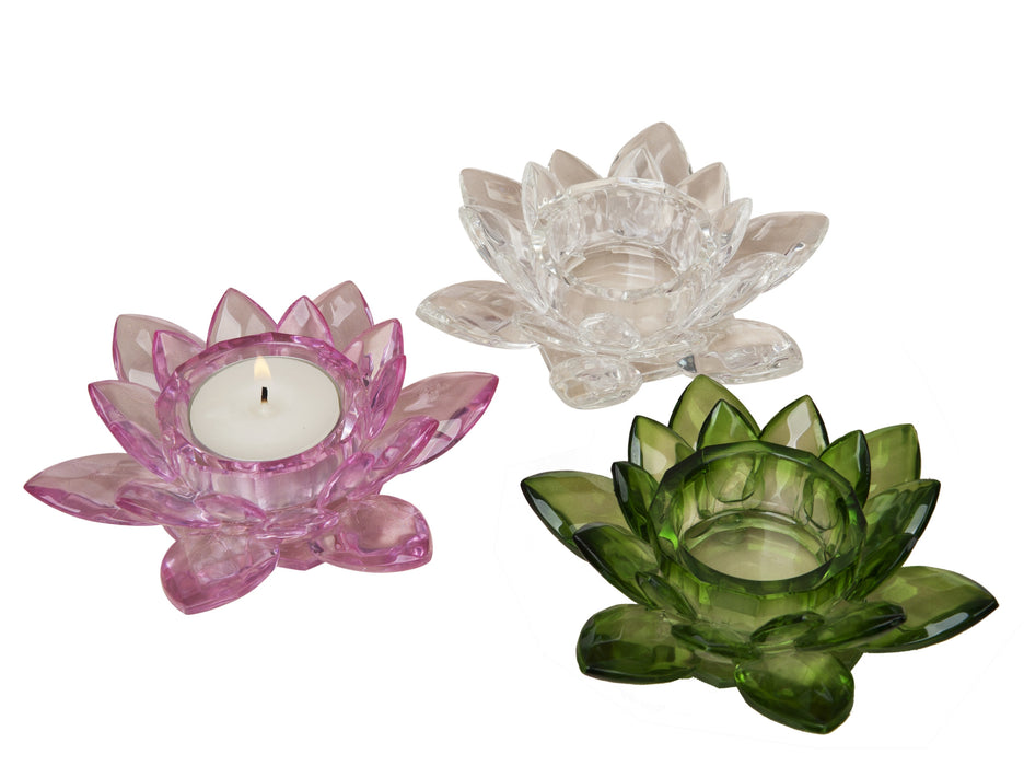 Crystal Lotus Candle Holder - Pink