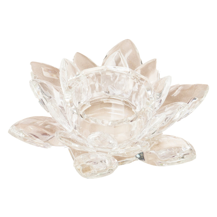 Crystal Lotus Candle Holder - Clear