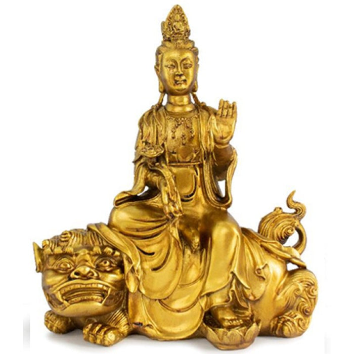 Kwan Yin & Spiritual Animal Set – Brass Finish